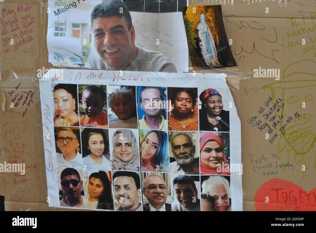 London, UK. 17th June, 2017. The Missing Posters from the Grenfell Tower Fire Disaster,. Contributor: Katherine - Stock Image