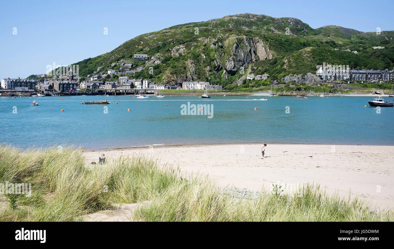 Inspecting the beach at Penrhyn Point, Barmouth, Gwynedd, Wales, UK - Stock Image