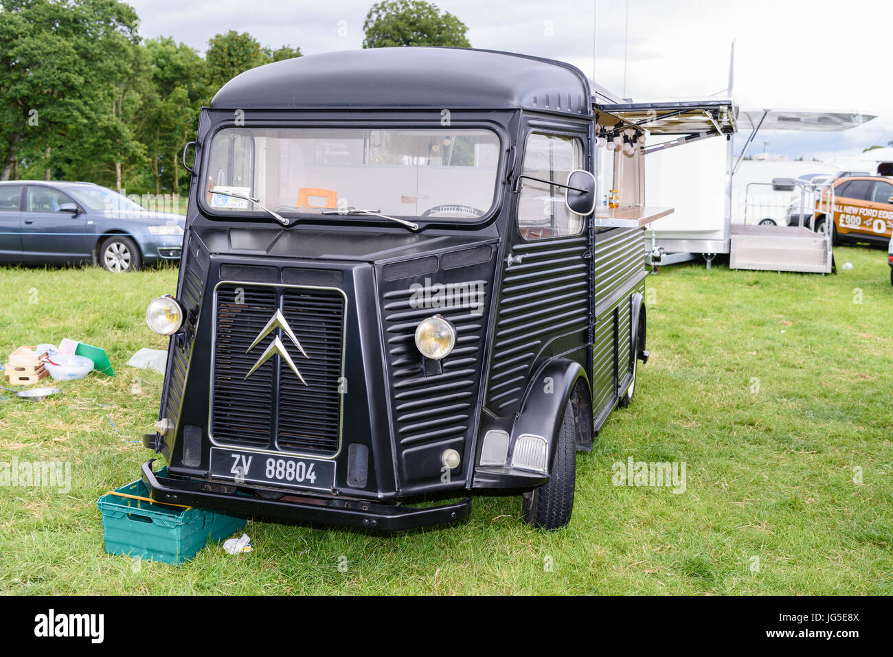 Citroen H Van converted into a mobile catering coffee van at an outdoor fair. - Stock Image