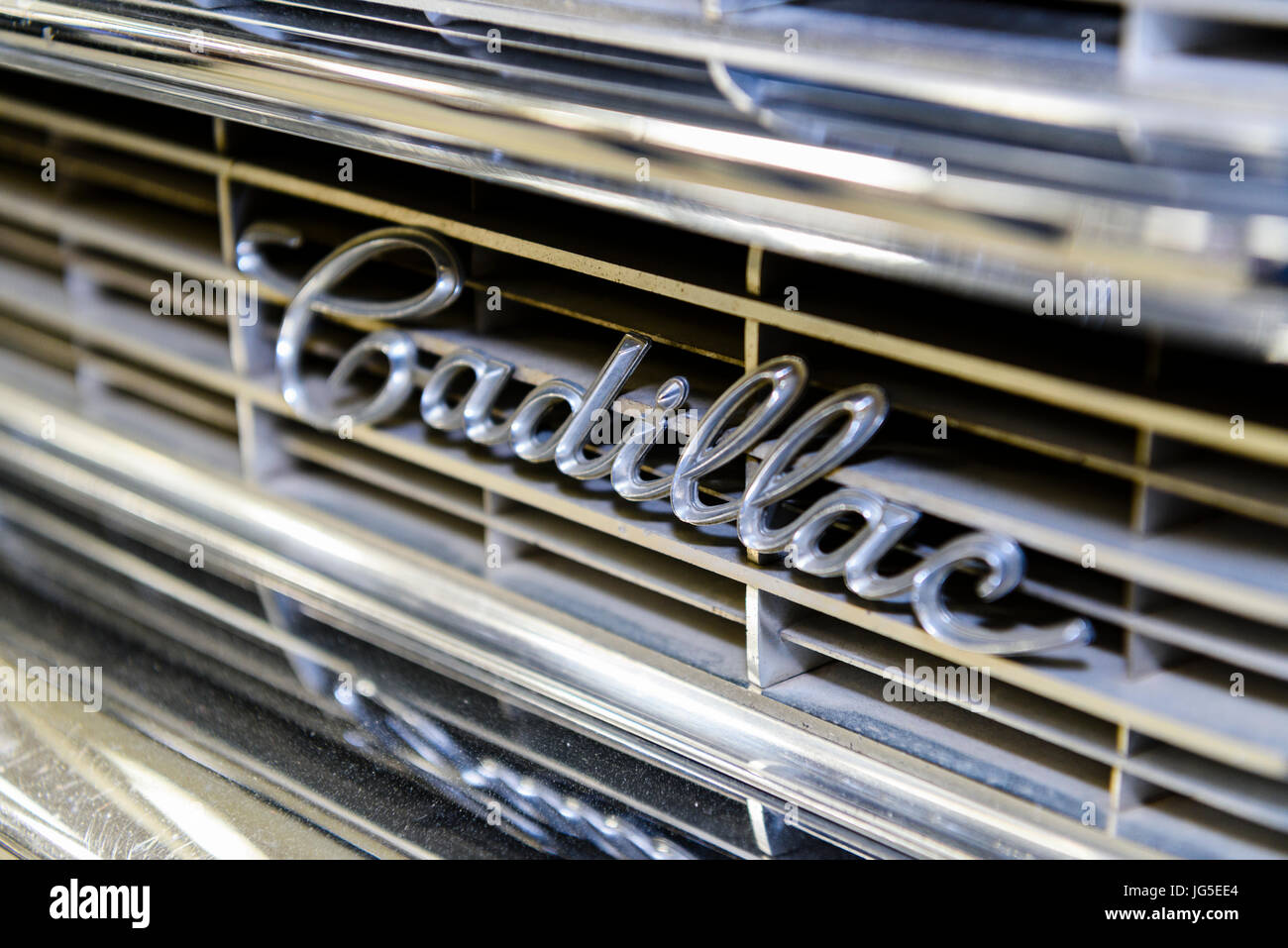 Cadillac Logo On The Chrome Front Radiator Grille Of A 1963 Coupe De Ville