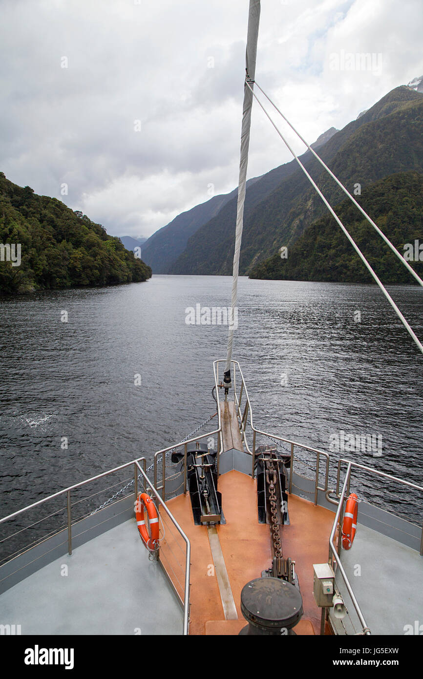 Crusing in Doubtful Sound - New Zealand - Stock Image