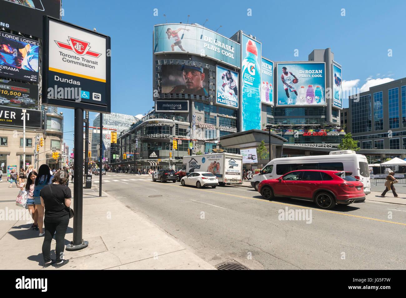 Toronto, CA - 24 June 2017: Traffic on Yonge-Dundas Square - Stock Image