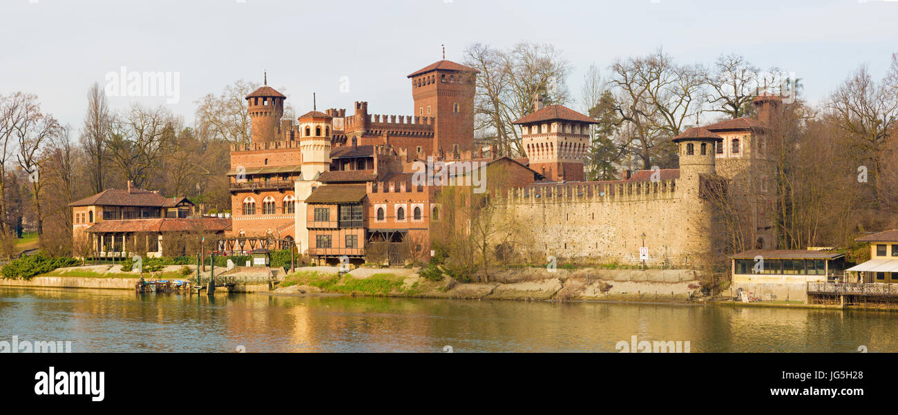 Turin - The panorama of Borgo Medievale castle. Stock Photo