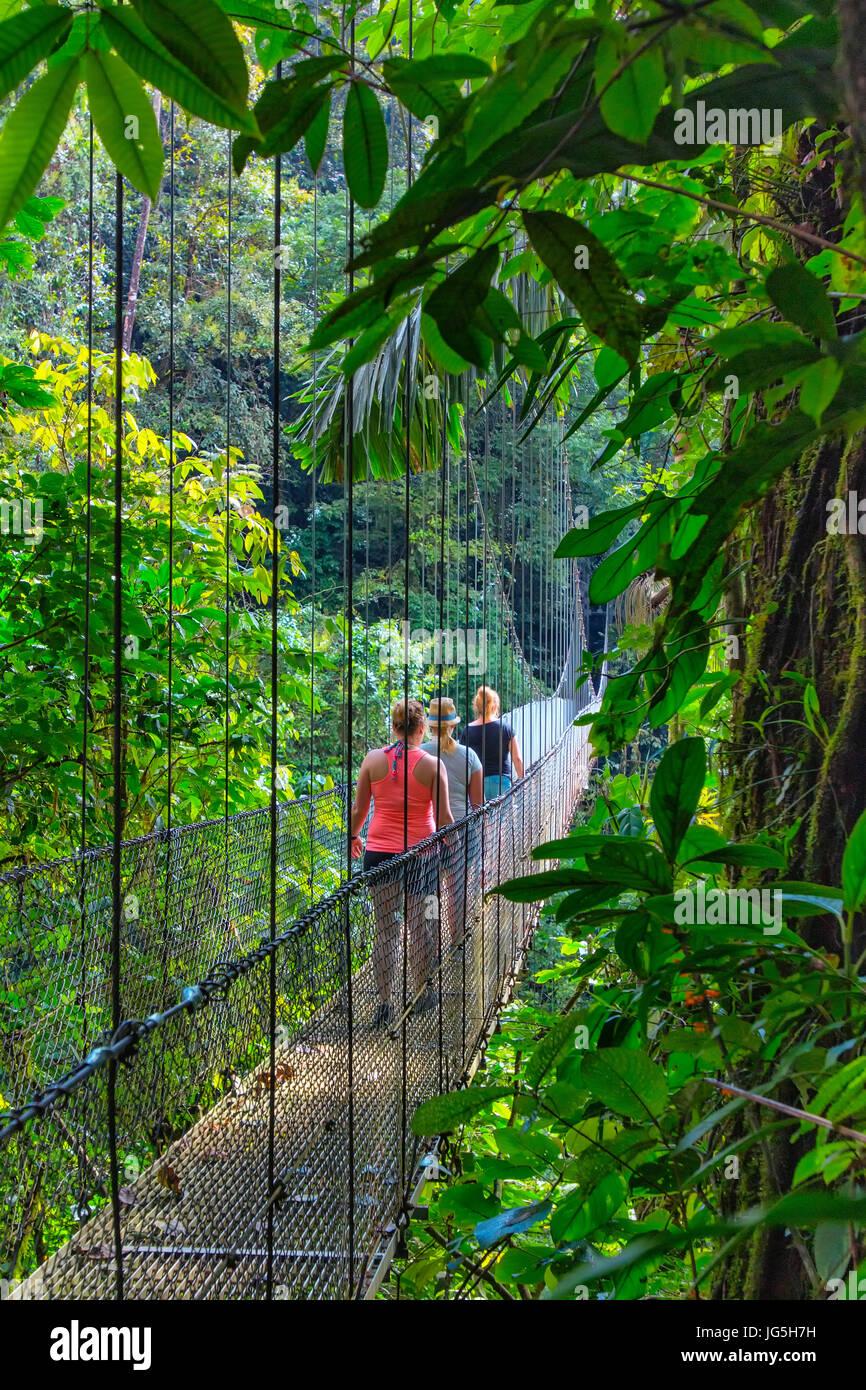 Hanging bridge near Lake Arenal, Costa Rica - Stock Image