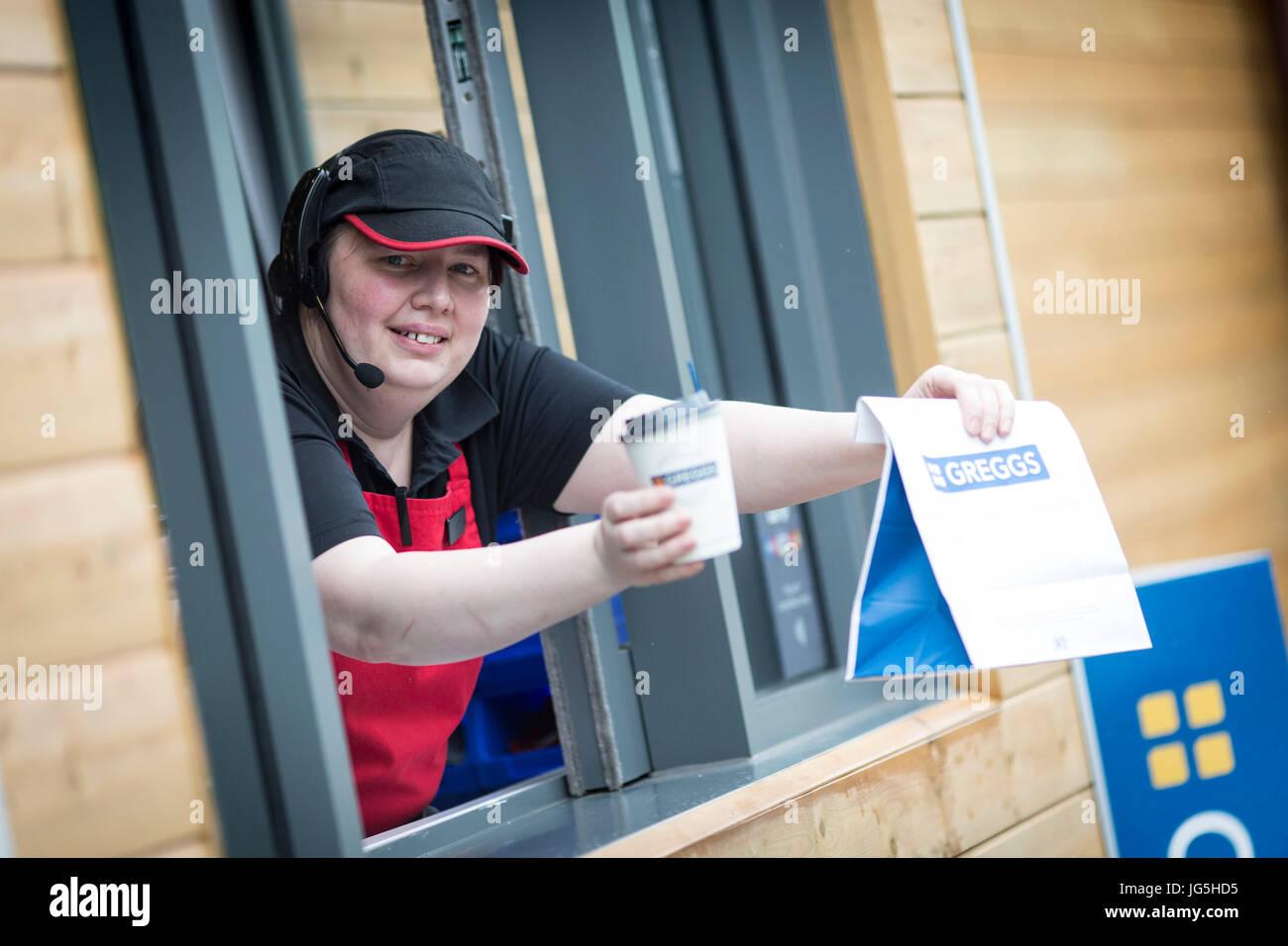 Greggs Drive Thru bakery  Irlam Gateway Service Station, Liverpool Rd, Irlam, Eccles, Manchester . - Stock Image