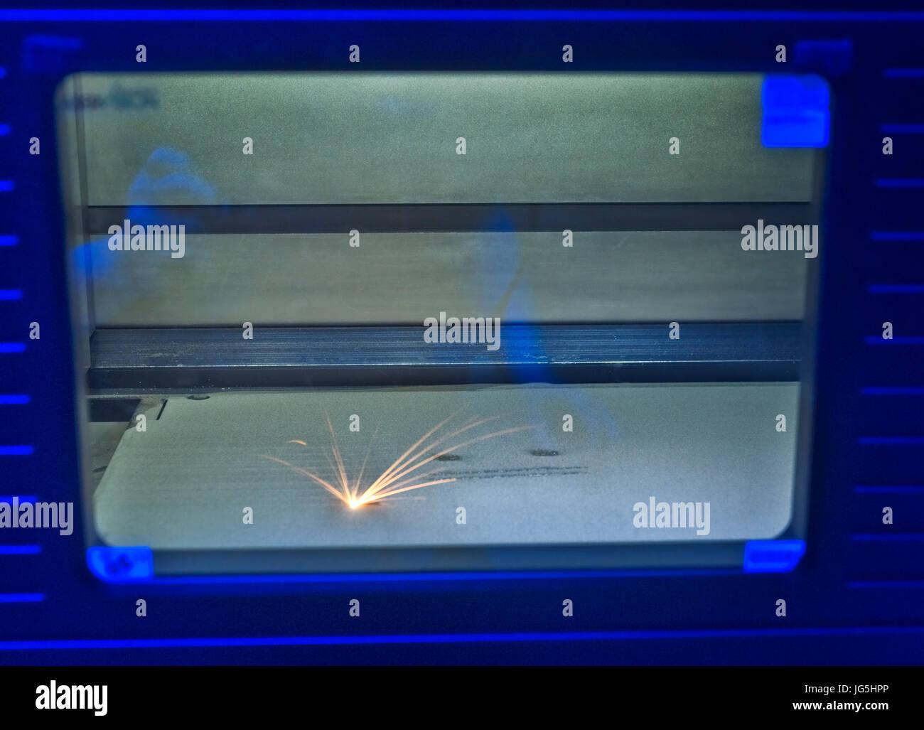 Direct Metal Laser Sintering (DMLS) manufacture of industrial components. - Stock Image
