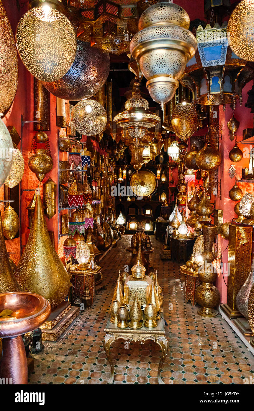 Selling traditional moroccan chandeliers and lampshades in a shop in selling traditional moroccan chandeliers and lampshades in a shop in the medina of fez morocco aloadofball Image collections