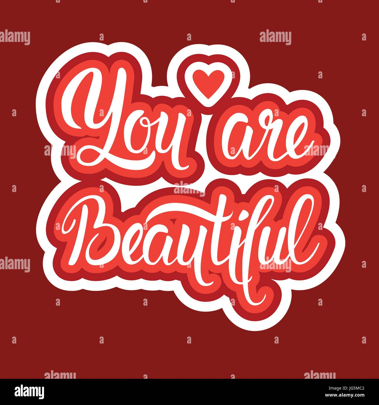 You are beautiful sticker social media network message badges design