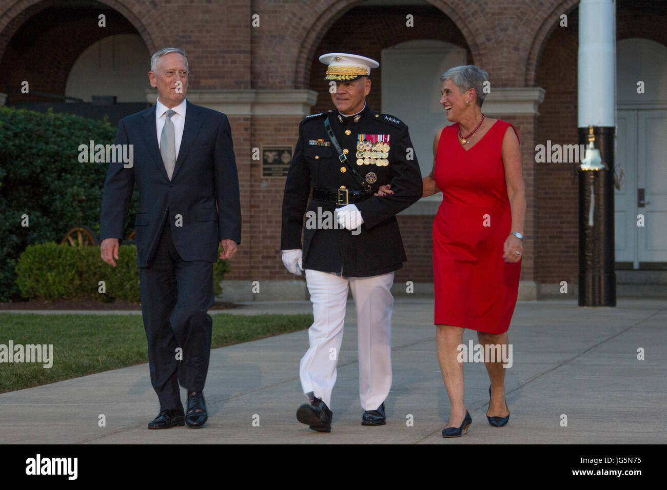 From left, Secretary James N. Mattis, Department ofDefense, Commandant of the Marine Corps Gen. Robert B. Neller, Stock Photo