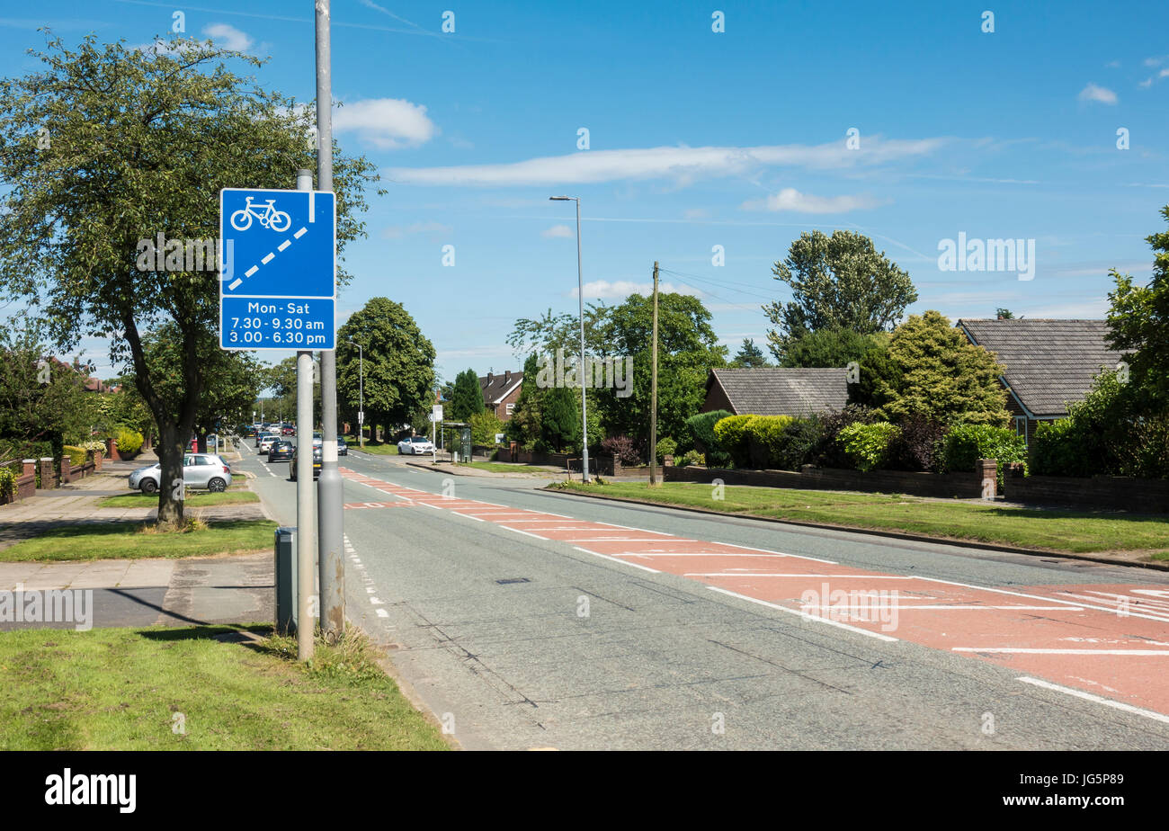 Cycle lane sign by the roadside in Bury Lancashire - Stock Image