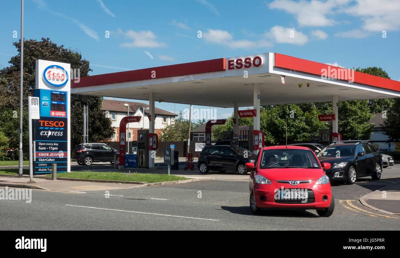 Esso petrol station on Bolton Road, Bury, Lancashire - Stock Image