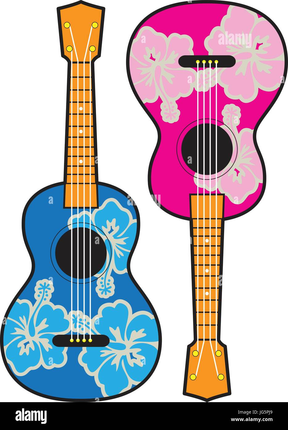 ukulele guitar vector with hibiscus design customizable - Stock Vector
