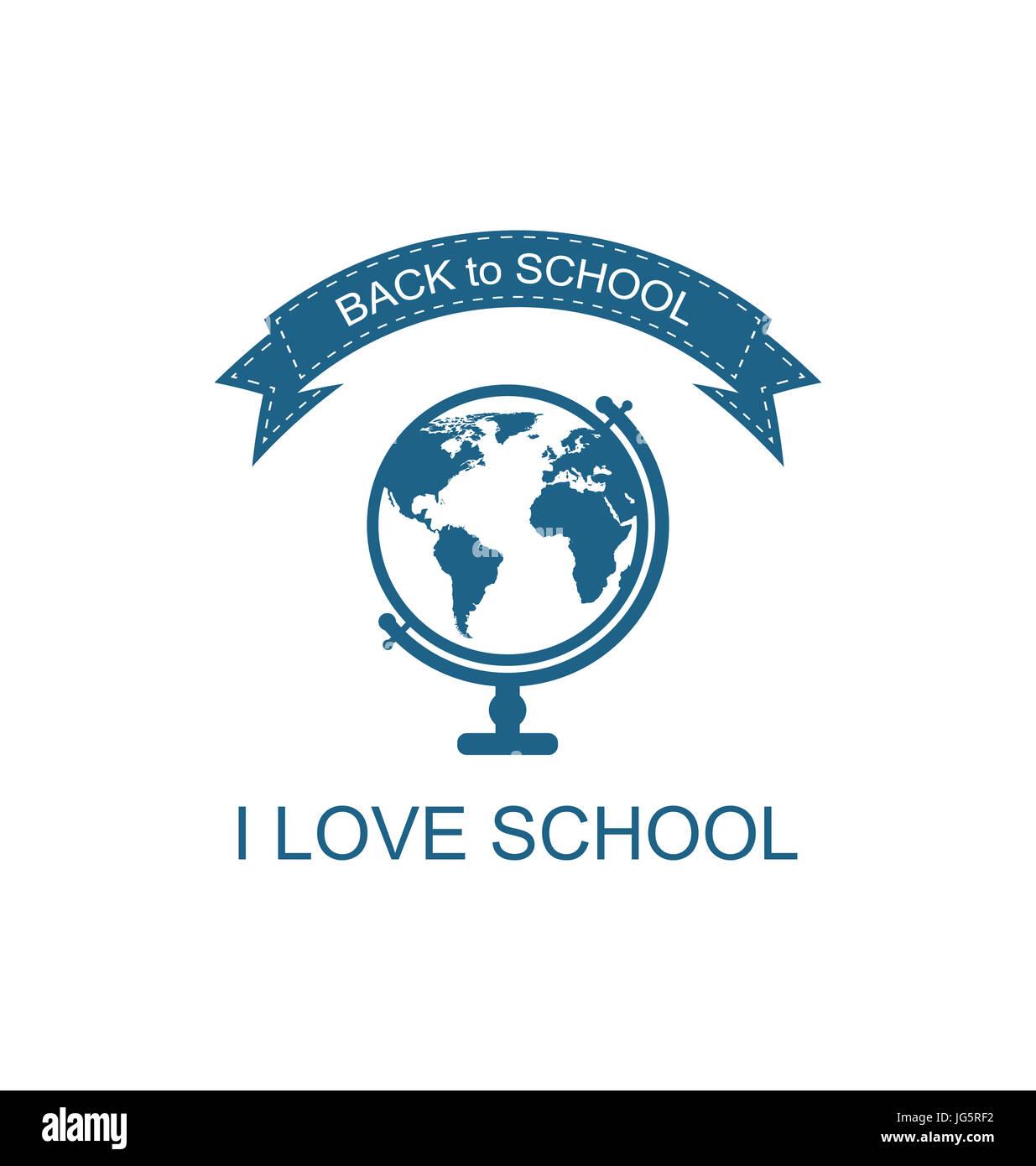 Illustration Back to School Logo with Globe Flat Icon, Isolated on White Background - - Stock Image