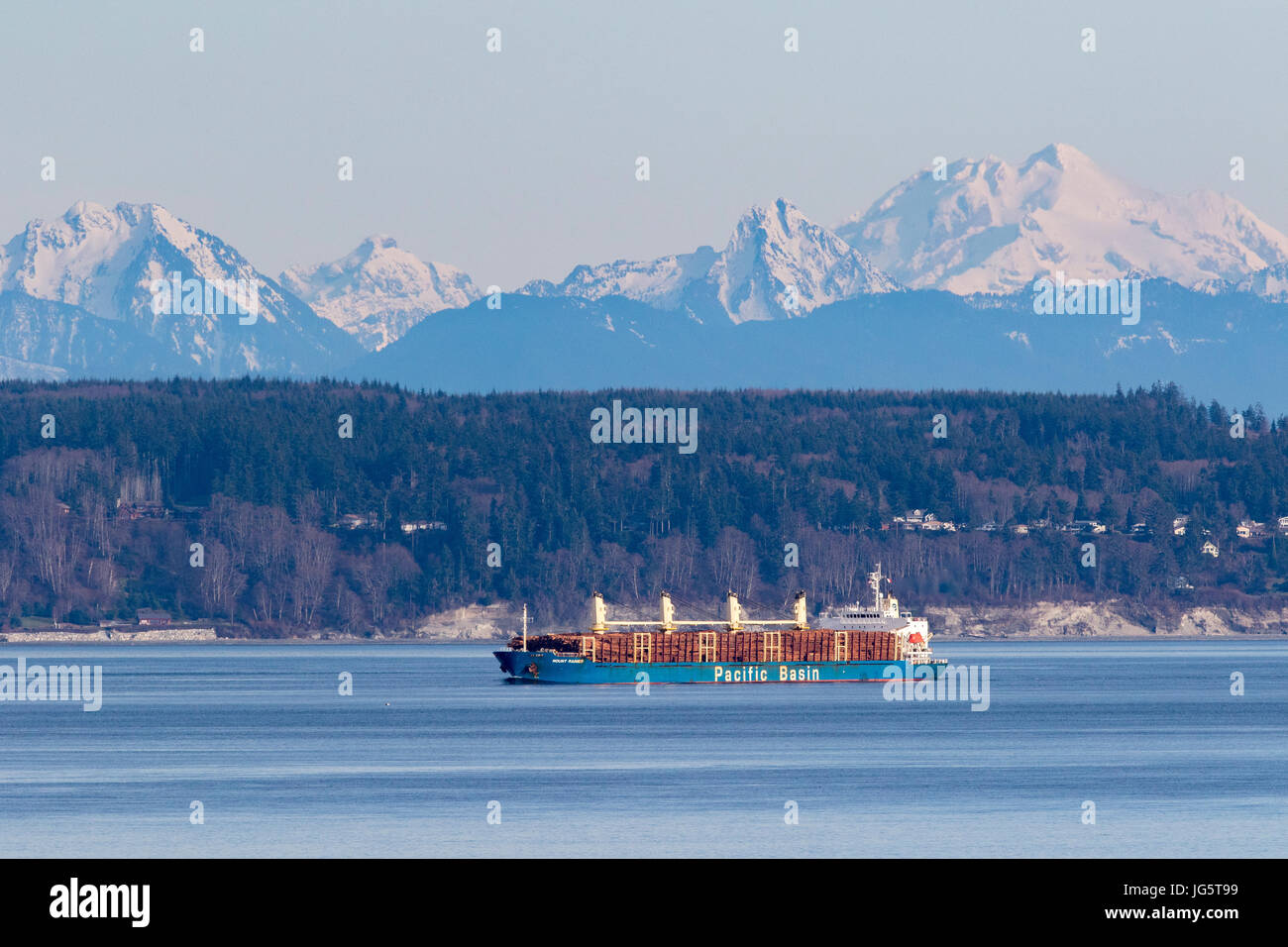 Log ship used for logging passes through Puget Sound, Washington with Cascade Mountains in background. - Stock Image