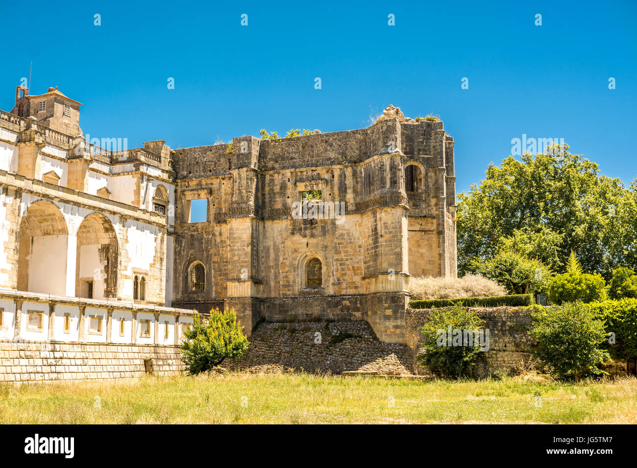 Ancient 600 year old castle in Tomar, Portugal on a very sunny day 2017 - Stock Image