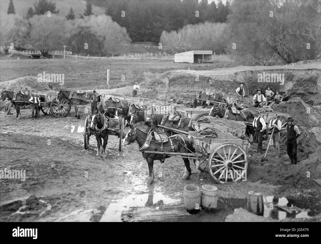 Christchurch, New Zealand - 1890's: Smart's Shingle Pit with Workers, Draft Horses and Drays in Sydenham, - Stock Image