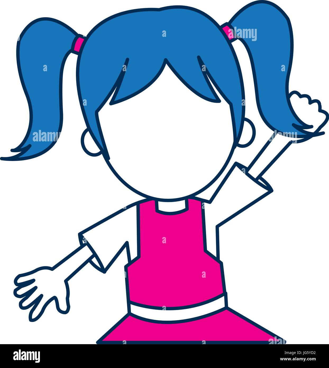 girl character schoolkid cheerful in blue and fuchsia - Stock Vector
