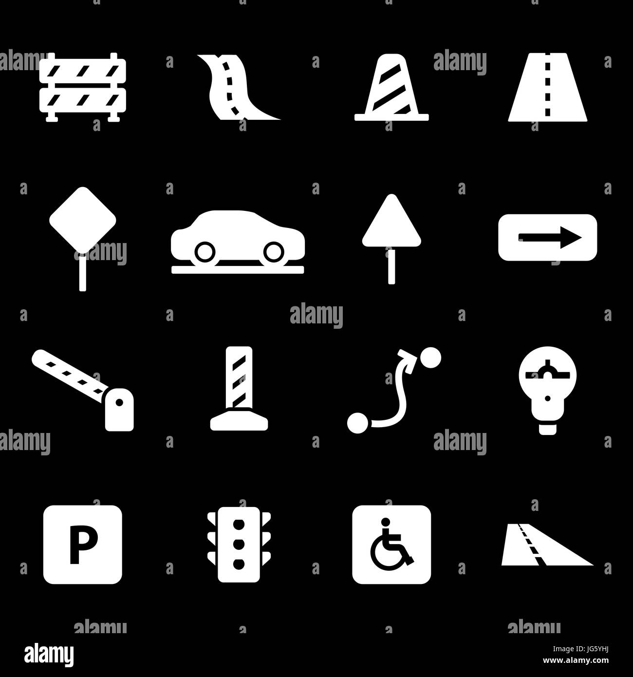 Vector white road icons set - Stock Image