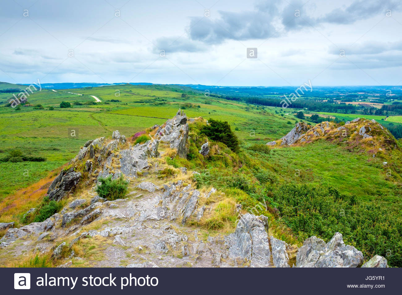 France, Brittany, Finistere, Plouneour-Menez. View from Roc'h Trevezel in the Monts d'Arree, Parc naturel - Stock Image