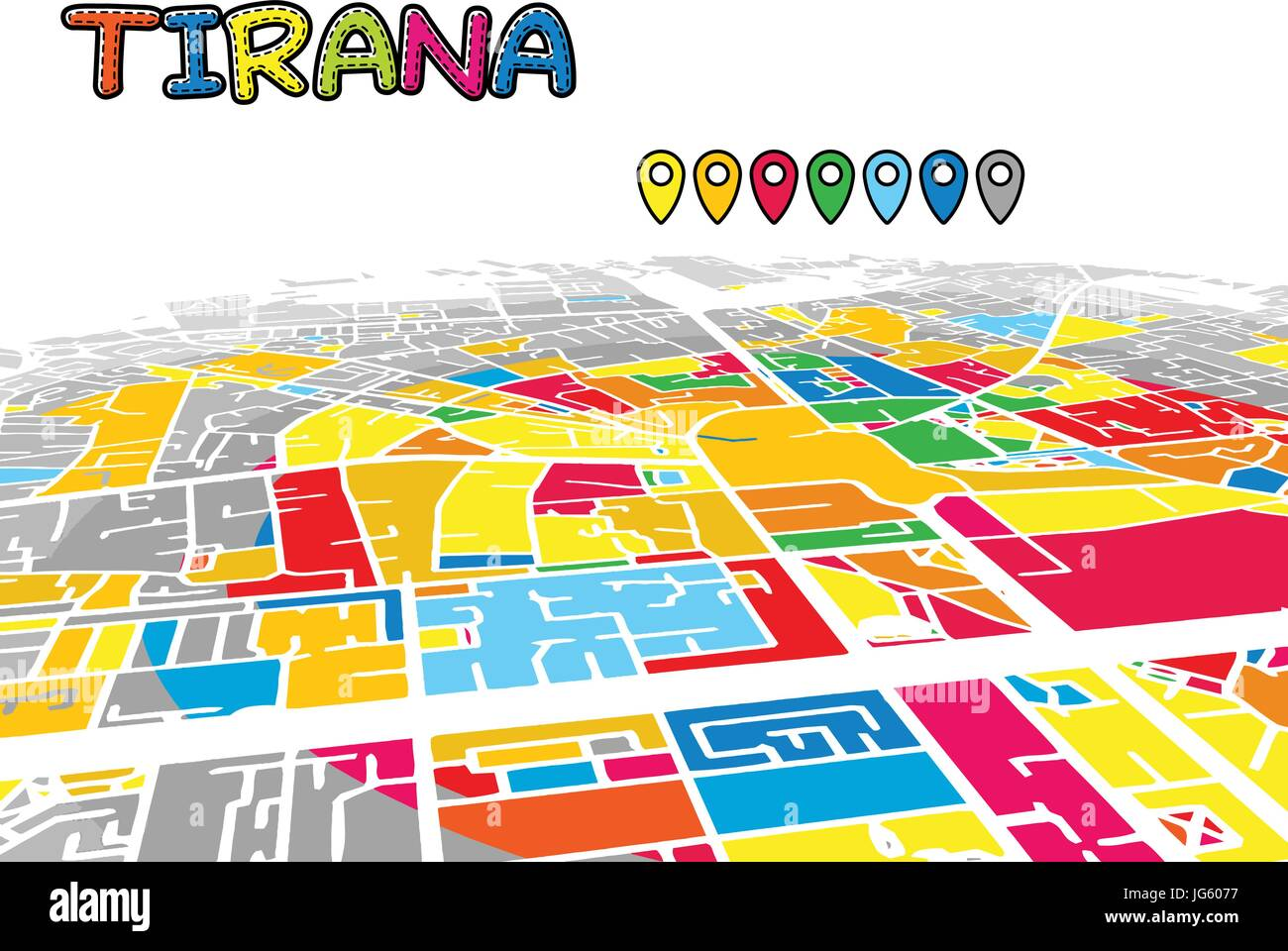 Tirana, Albania, Downtown 3D Vector Map of Famous Streets. Bright foreground full of colors. White Streets, Waterways - Stock Vector