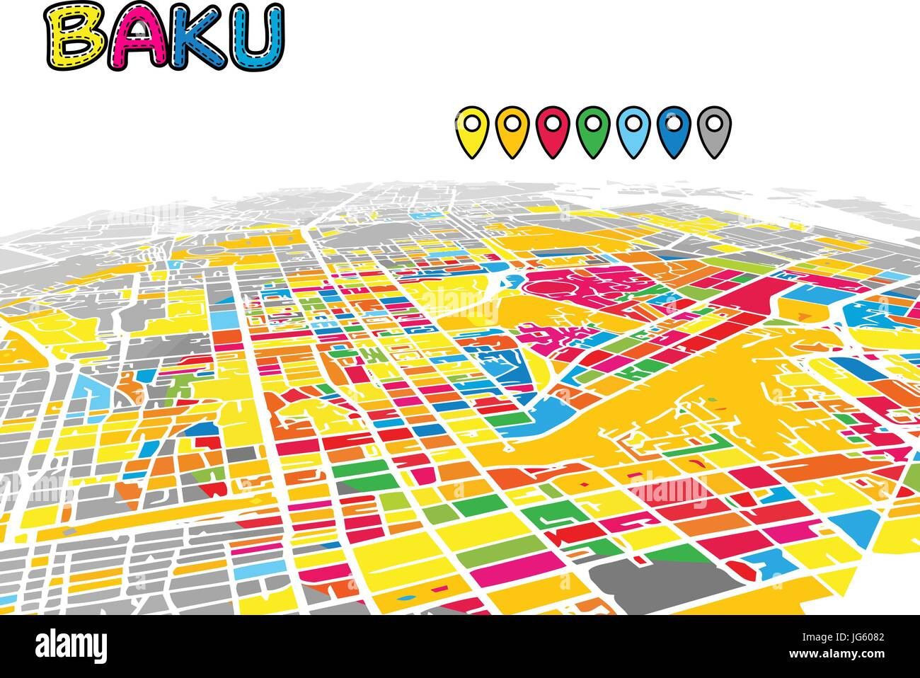 Baku, Azerbaijan, Downtown 3D Vector Map of Famous Streets. Bright foreground full of colors. White Streets, Waterways - Stock Vector
