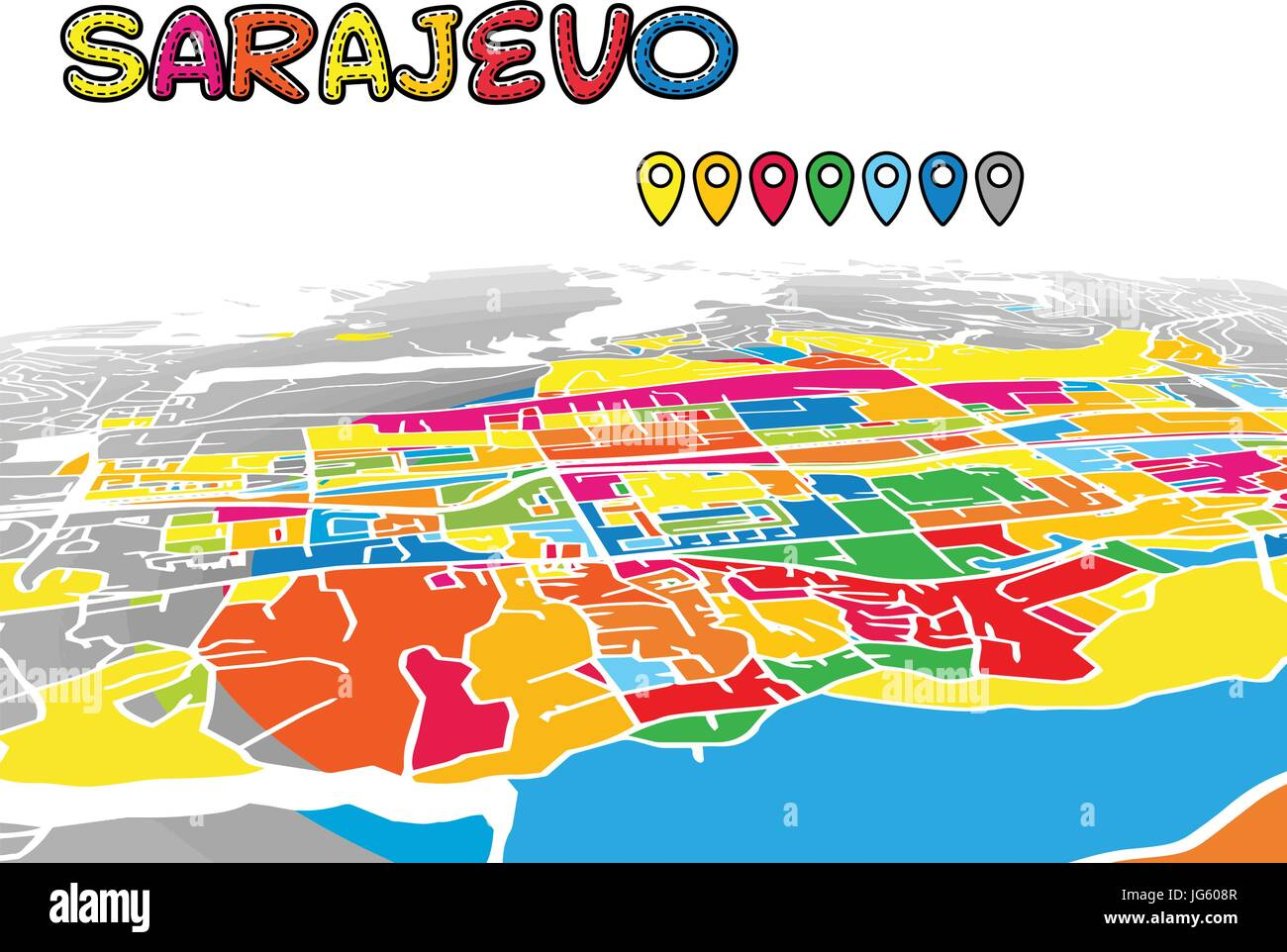 Sarajevo Downtown 3D Vector Map of Famous Streets. Bright foreground full of colors. White Streets, Waterways and - Stock Vector