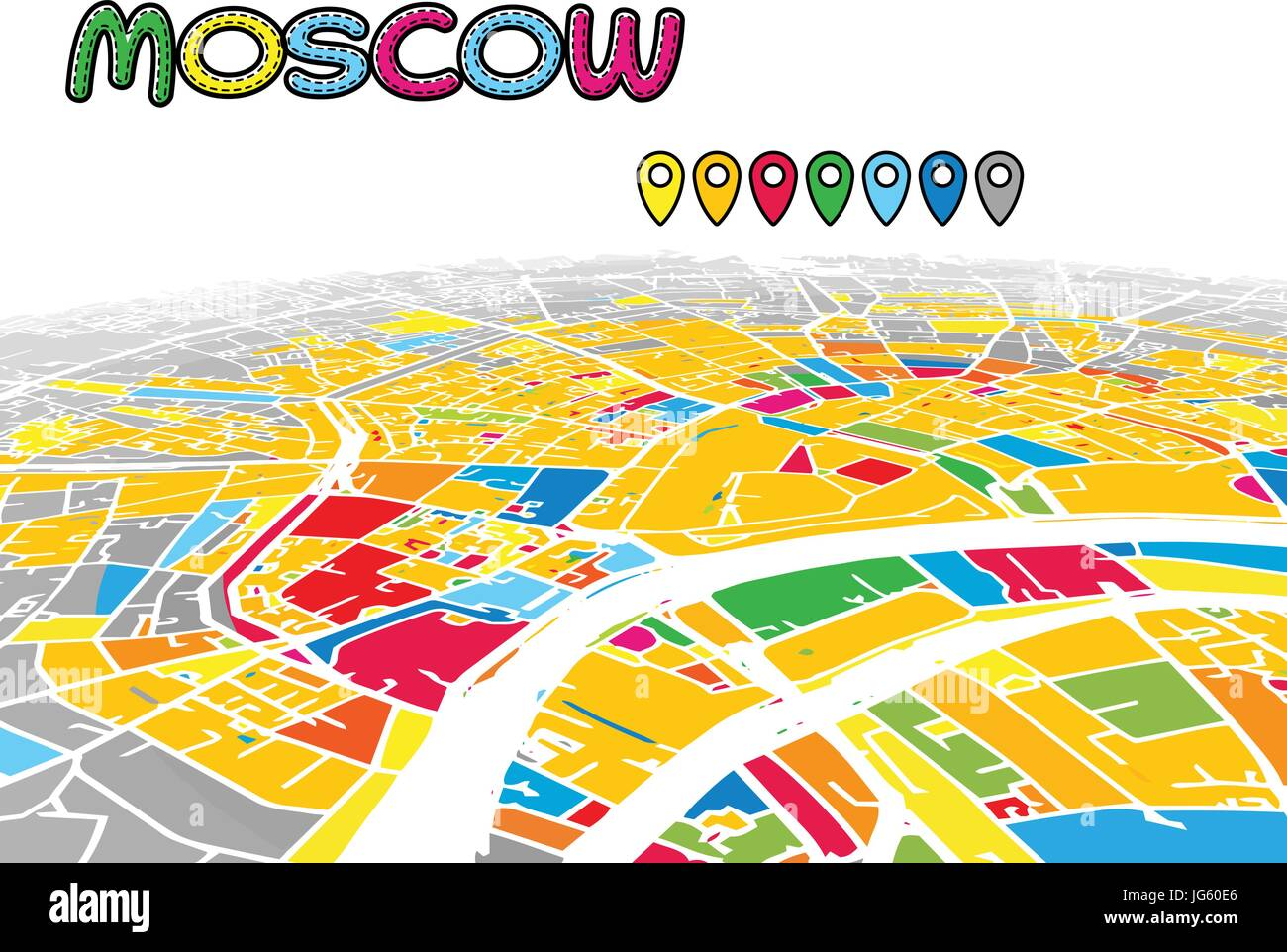 Moscow, Russia, Downtown 3D Vector Map of Famous Streets. Bright ...