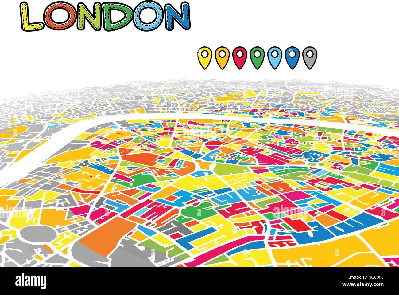 london united kingdom downtown 3d vector map of famous streets bright foreground full of colors white streets waterways and grey background areal