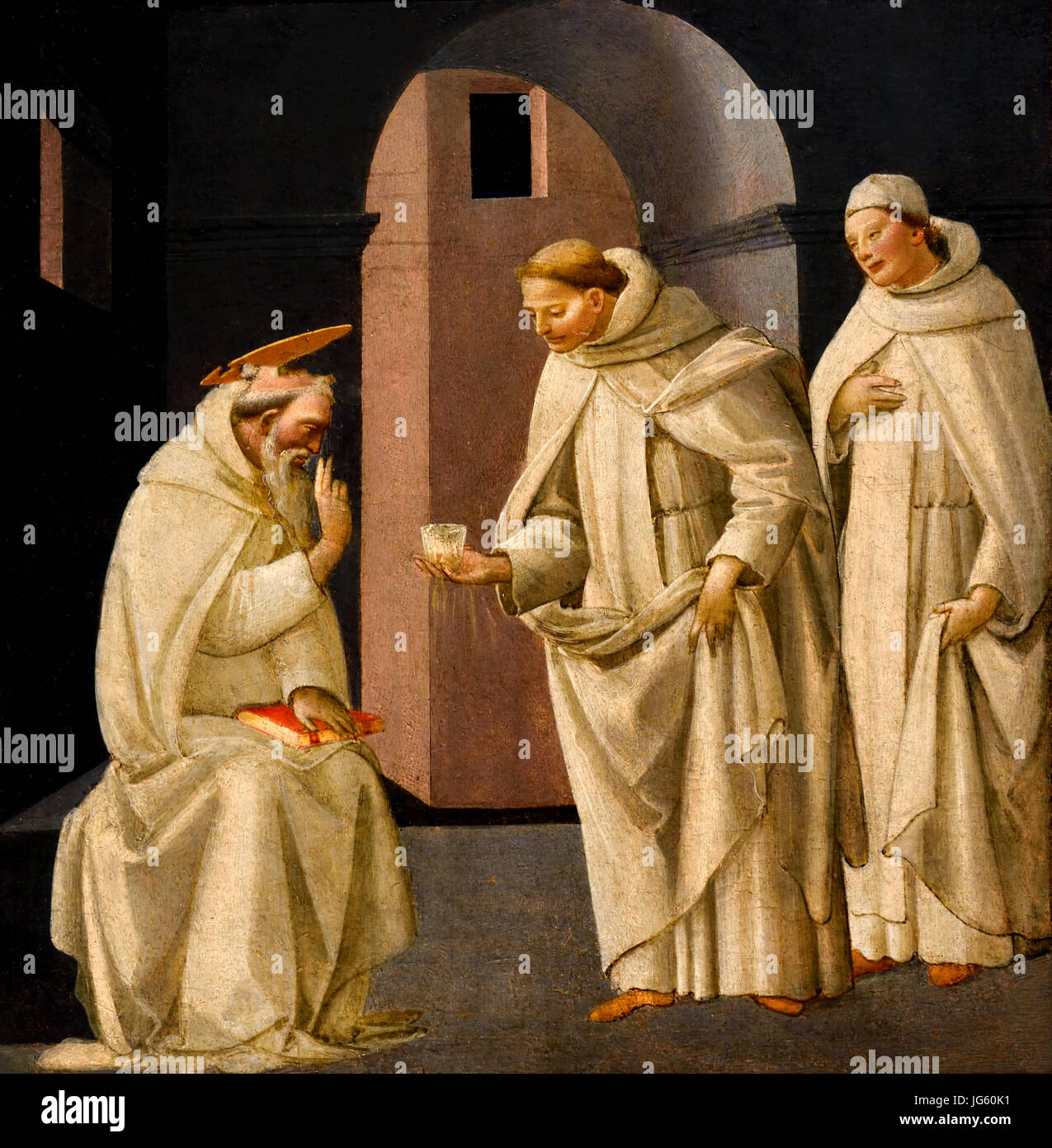 St Benedict Blesses the Poisoned Wine 148501990  1485 Bartolomeo di Giovanni active 1488 - about 1500 Florence Italy - Stock Image