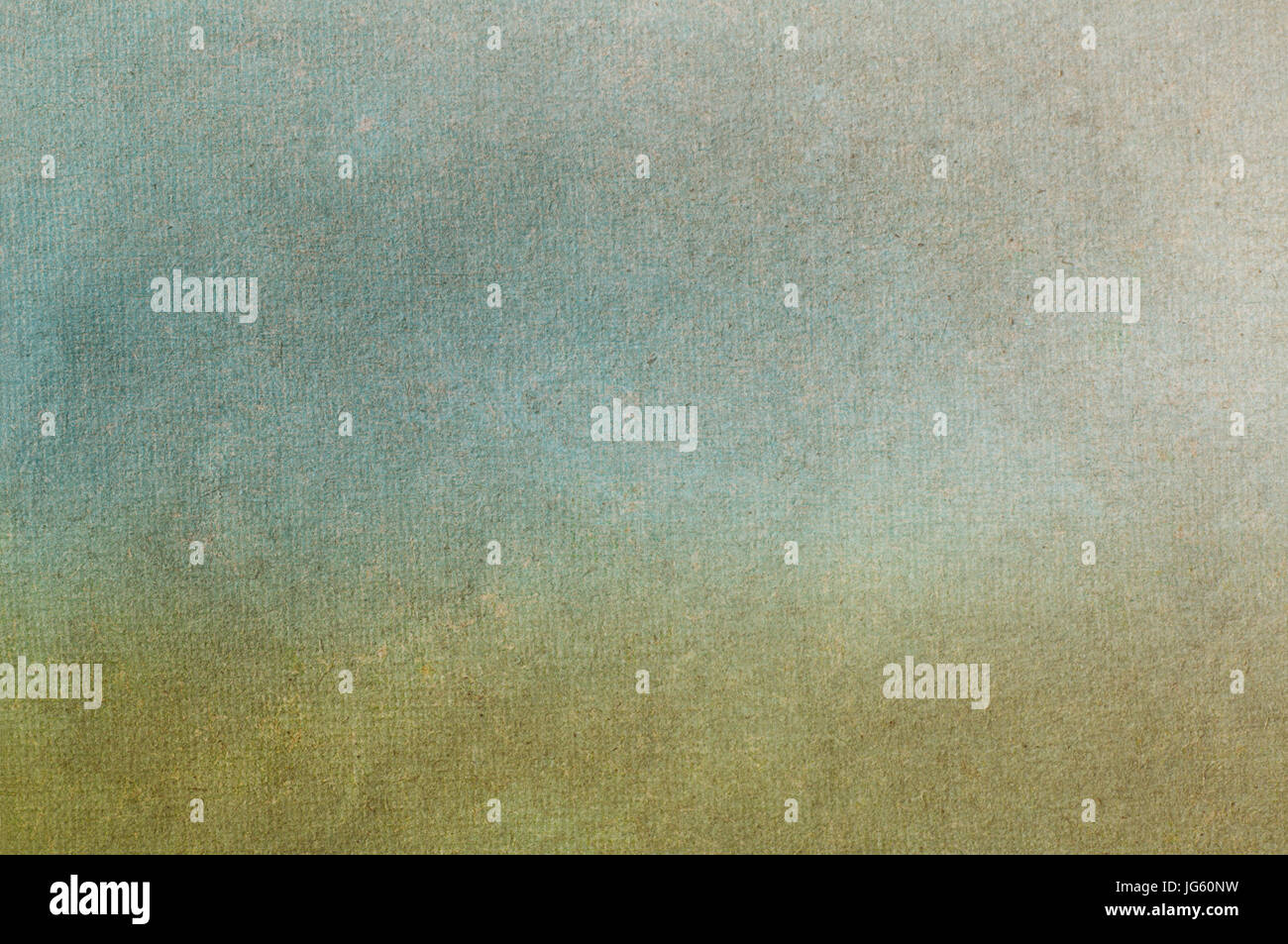 Mid-toned fibrous, paper texture with scratches, fibres and flecks visible. Blended, muted green and blue tones - Stock Image