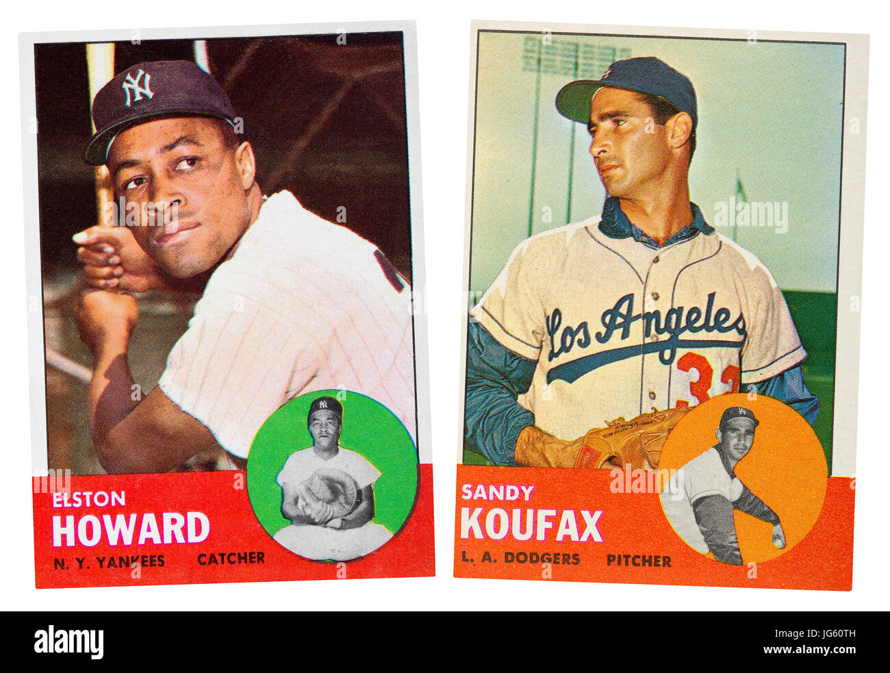 NY Yankee Elston Howard and LA Dodger Sandy Koufax were the MLB 1963 MVP award winners.  They both wore the number - Stock Image