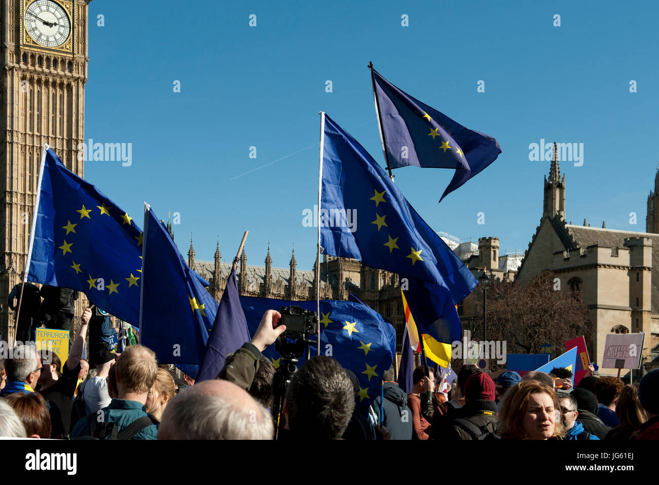 Demonstrators gather in Westminster following a march from Park Lane to demonstrate opposition to the UK's forthcoming Stock Photo