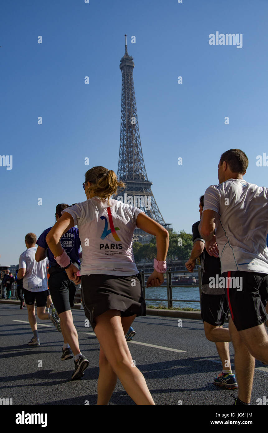 The 20km of Paris take place every year, and give the opportunity to the competitors to run along the Seine Stock Photo