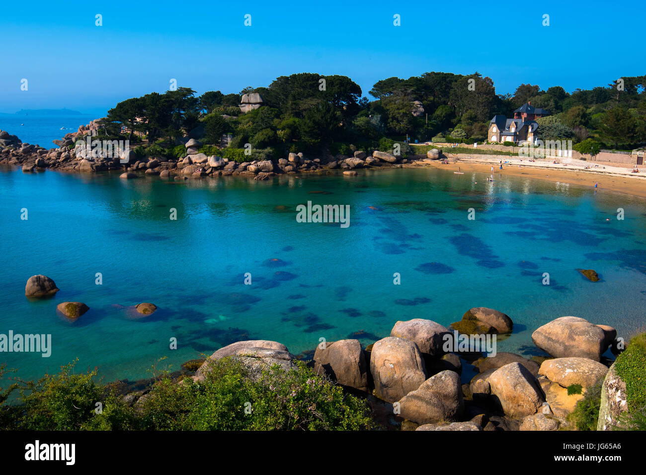 Beach of Saint Guirec in Brittany Stock Photo