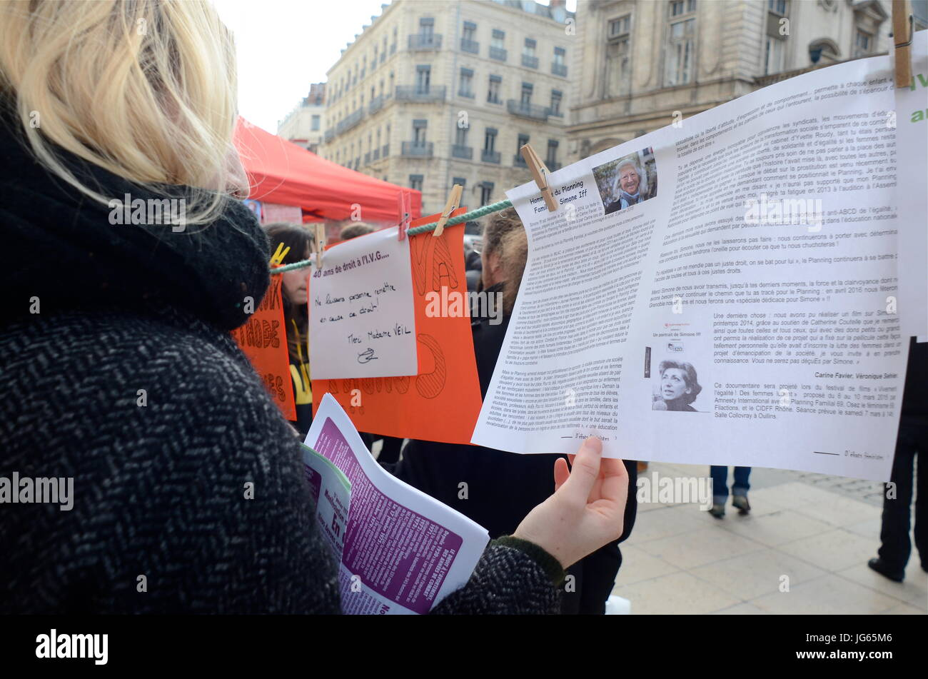 Women celevrate the 40th anniversary of IVG law, on Pregancy Interruption Lyon (France) - Stock Image