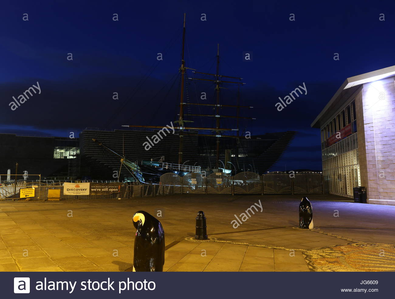 RRS Discovery by night Dundee Scotland  July 2017 - Stock Image