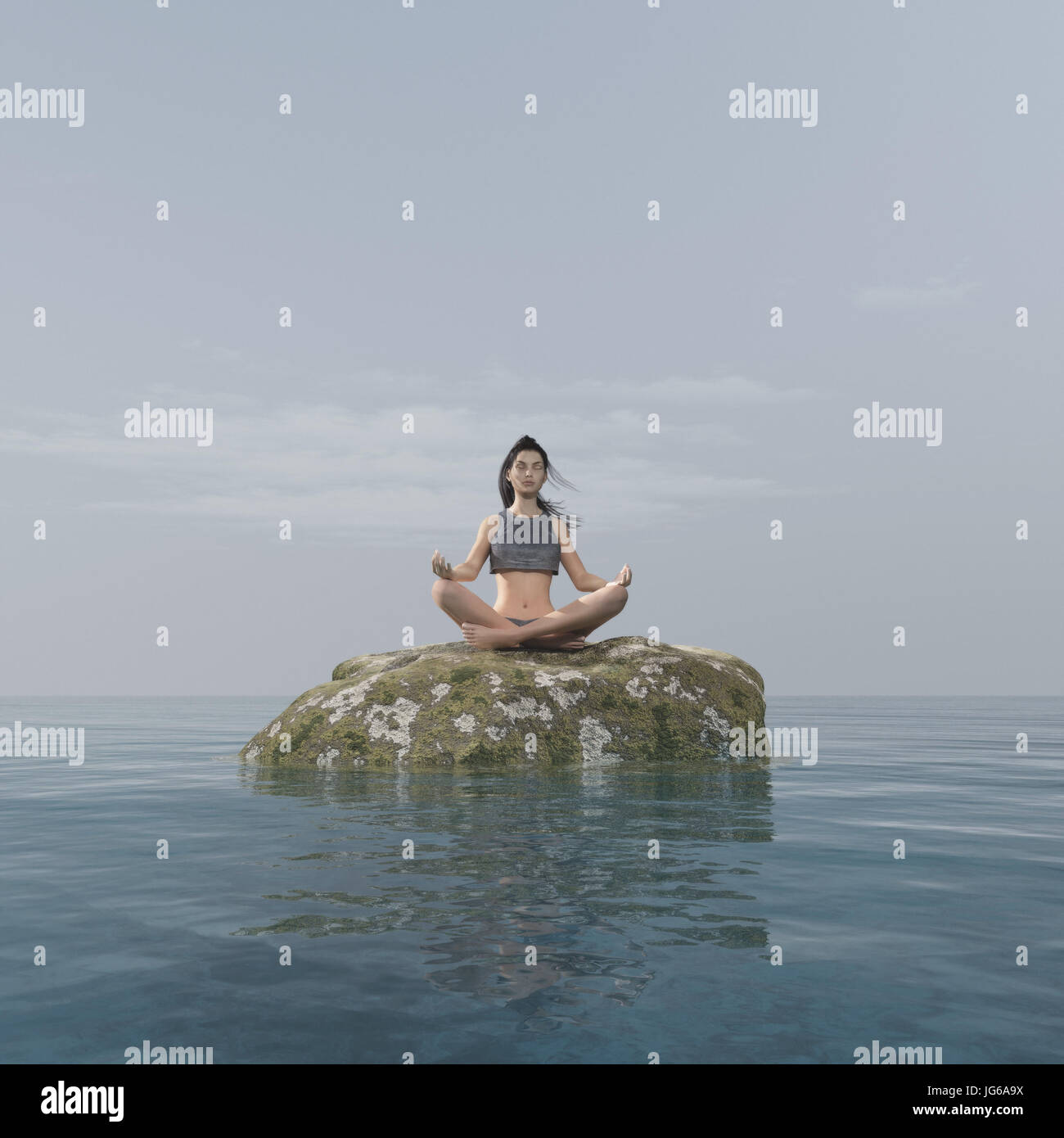 Young woman doing yoga on a rock in the sea. This is a 3d render illustration Stock Photo