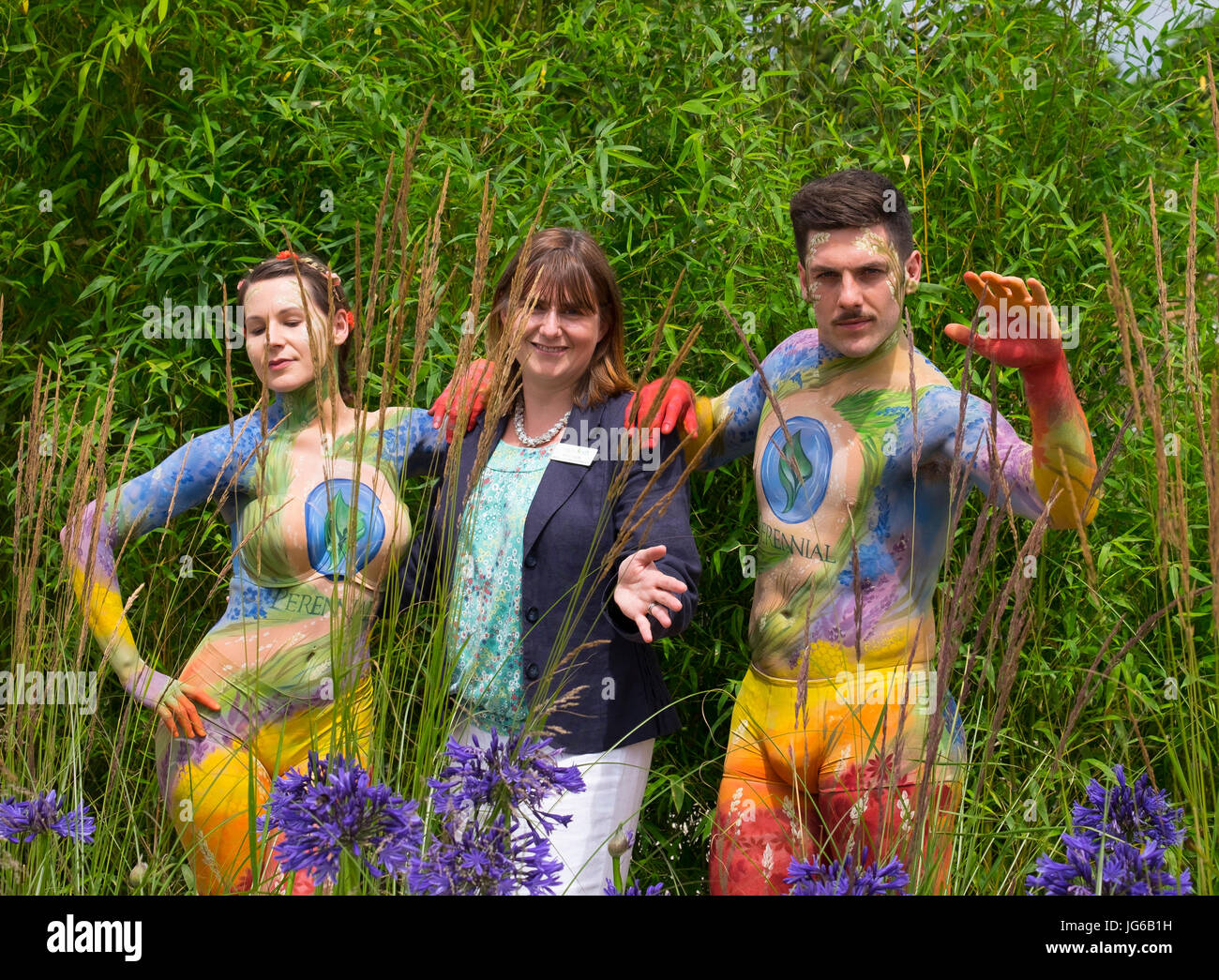 3rd July, 2017. RHS Hampton Court Palace Flower Show. Painted male and female models in The Perennial Sanctuary - Stock Image