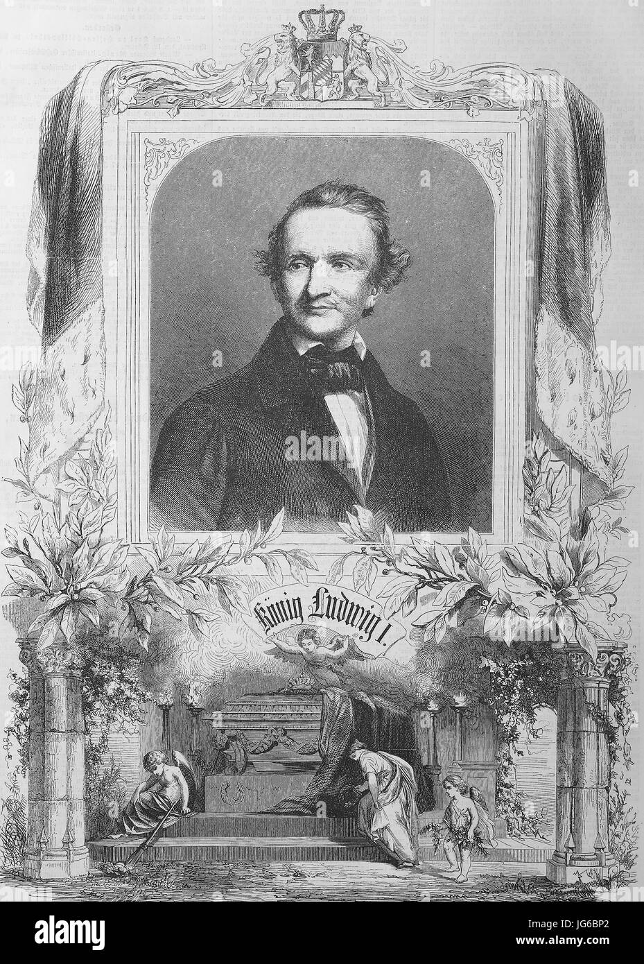Digital improved:, Ludwig I, Louis I, 1786 - 1868, was king of Bavaria from 1825 until the 1848 revolutions, Germany, - Stock Image