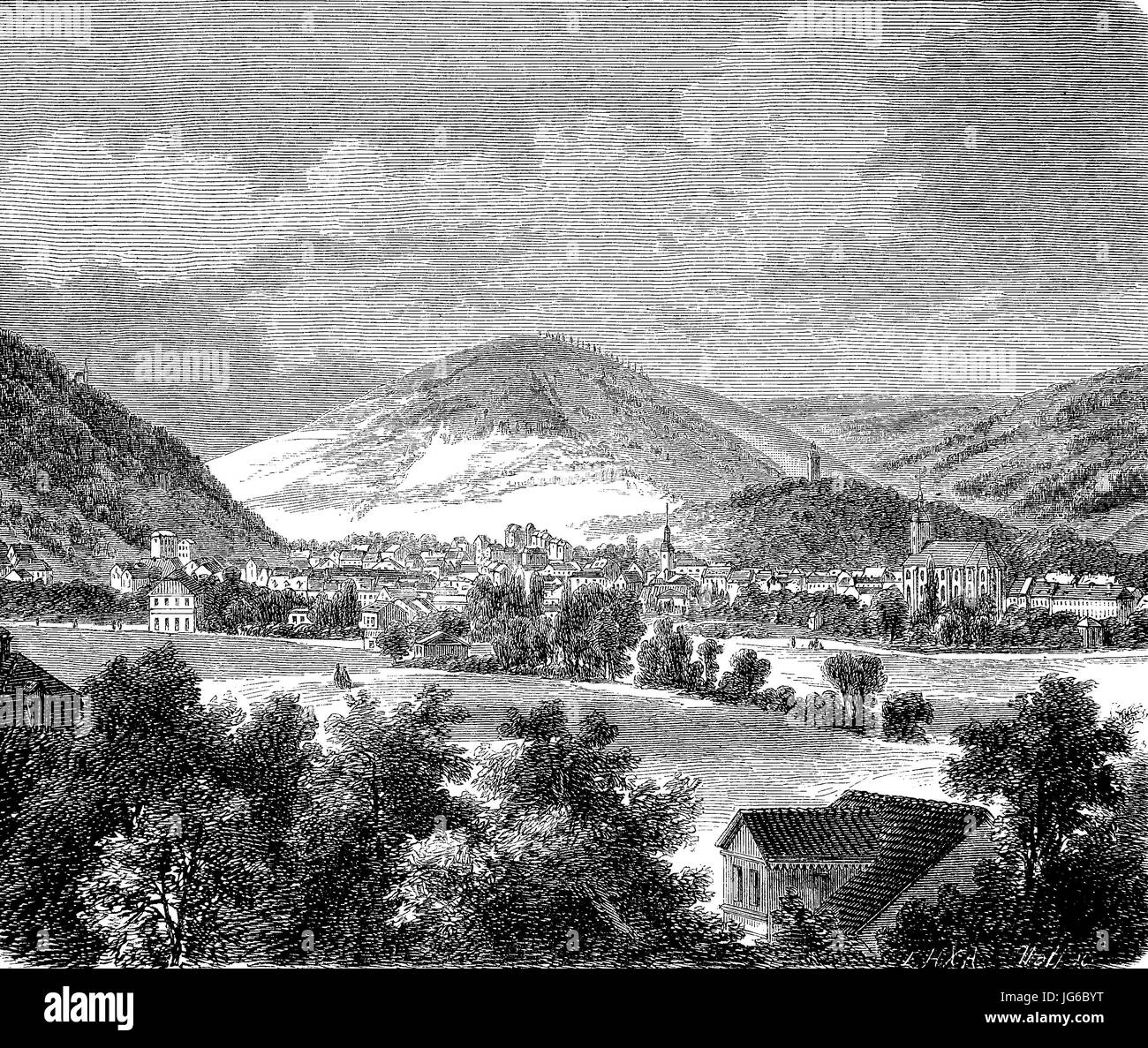 Digital improved:, view of Suh, a city in Thuringia, Germany, illustration from the 19th century Stock Photo