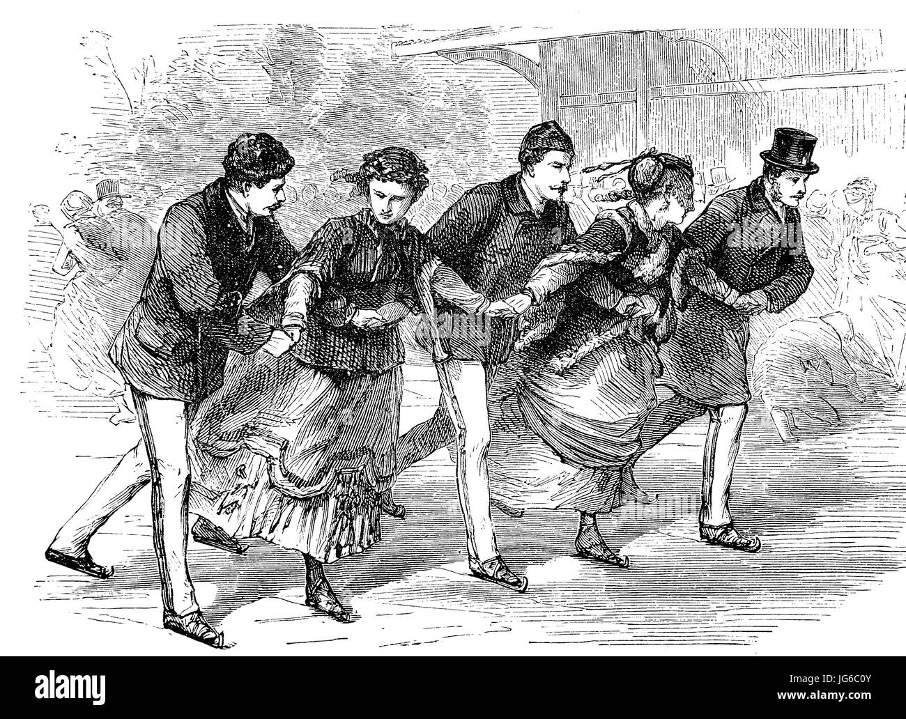 Digital improved:, five people Ice skating, ice skating as winter fun, illustration from the 19th century Stock Photo