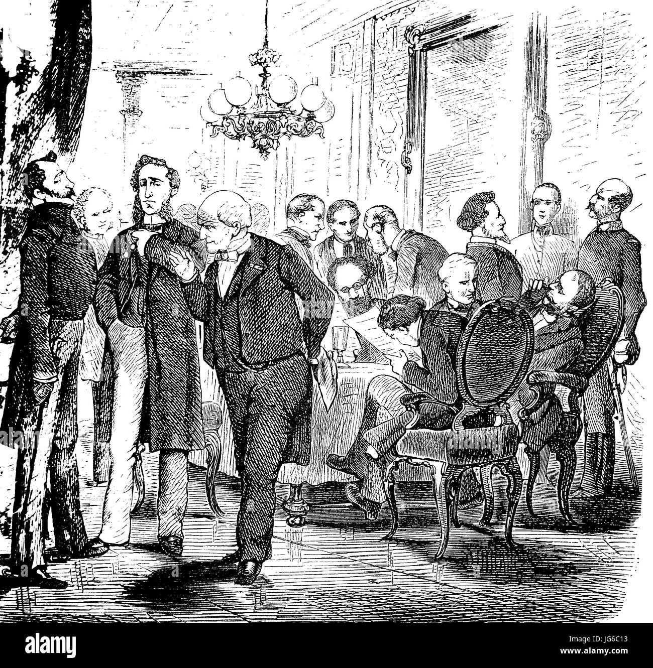 Digital improved:, Politicians in the casino, men, illustration from the 19th century Stock Photo