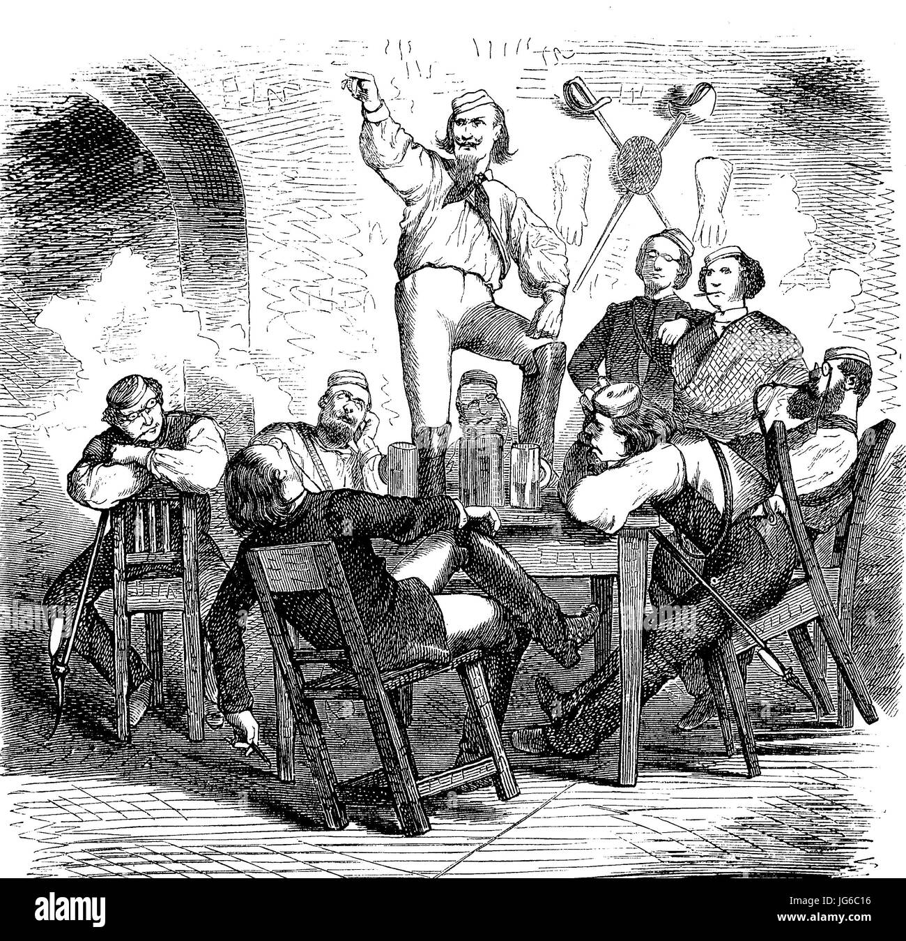 Digital improved:, Students in a student bar, illustration from the 19th century Stock Photo