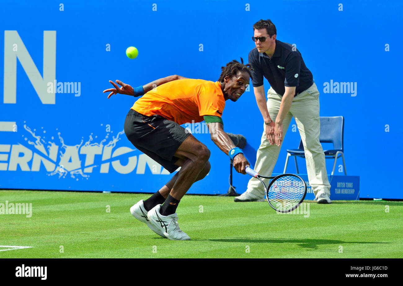 Gaël Monfils (France) playing a backhand in the final of the Aegon International at Eastbourne, 2017 - Stock Image