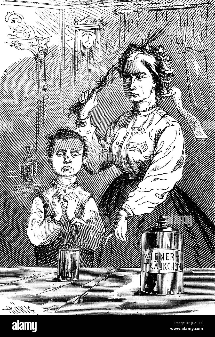 Digital improved:, Medicine, taking medication, with the use of force, illustration from the 19th century Stock Photo