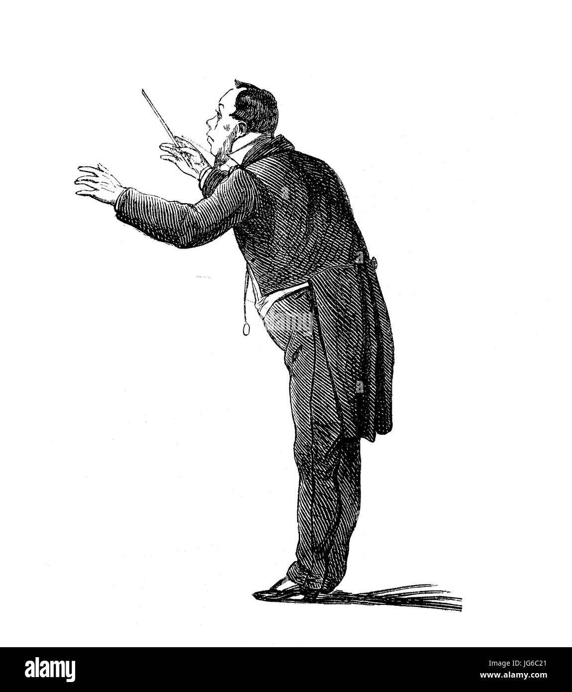 Digital improved:, Conductor, various movements in the conducting of an orchestra, illustration from the 19th century Stock Photo