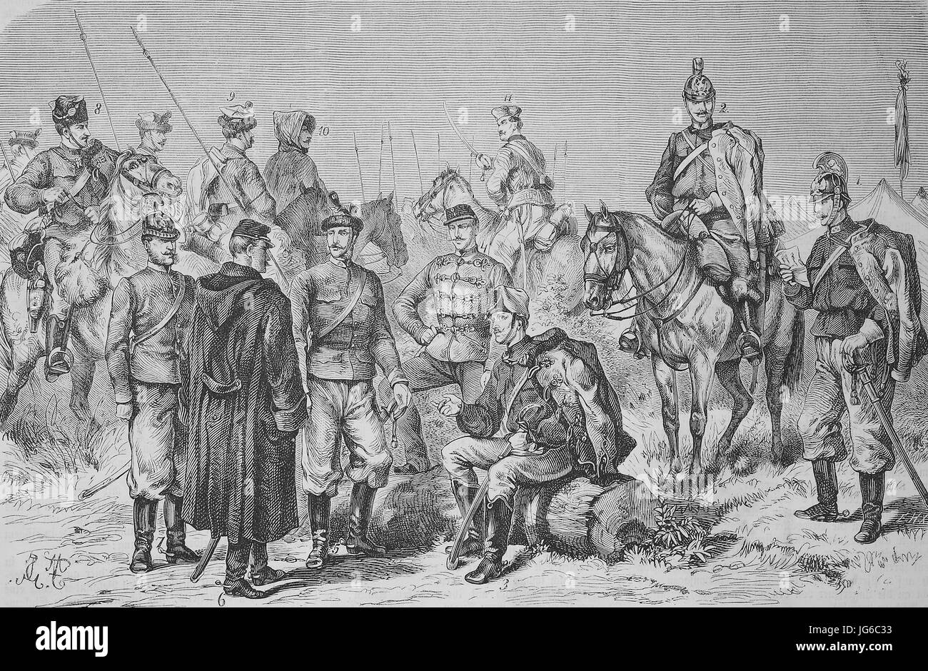 Digital improved:, The new uniform of the Austrian cavalry army, soldiers, army, Austria, illustration from the Stock Photo