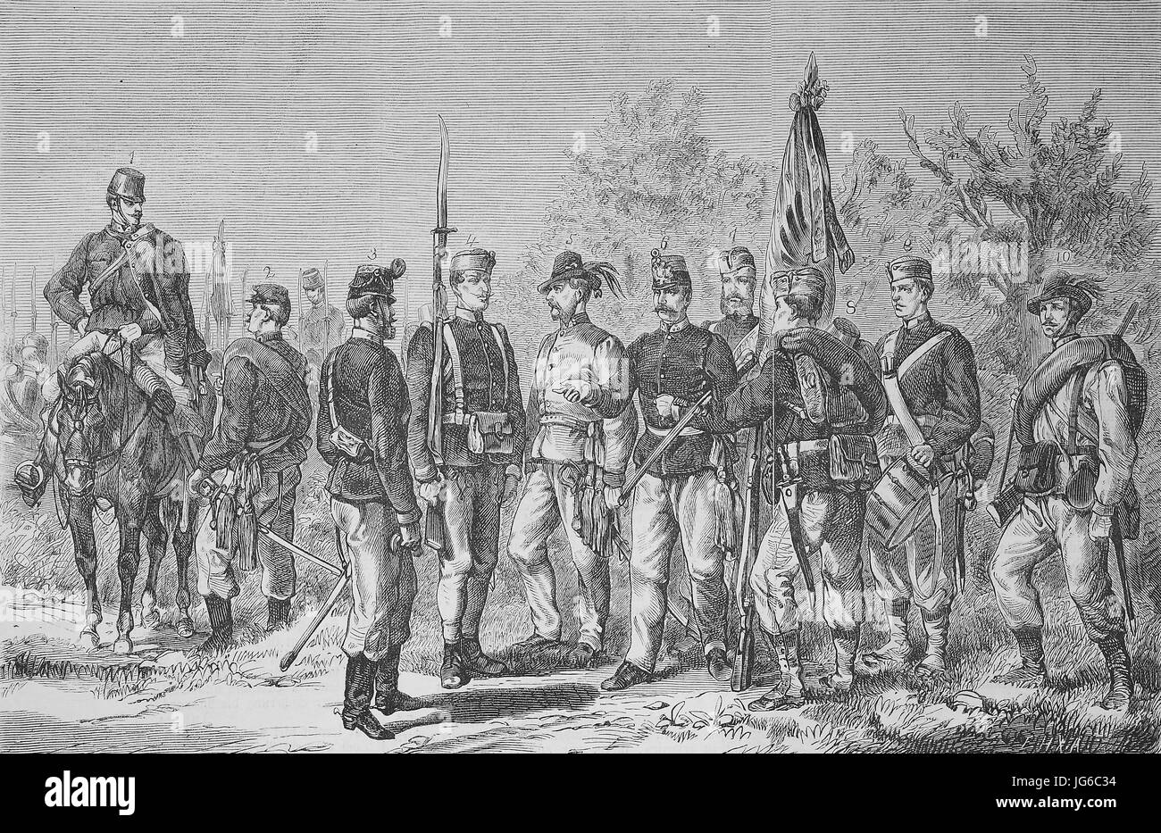 Digital improved:, The new uniform of the Austrian Infantry army, soldiers, army, Austria, illustration from the Stock Photo
