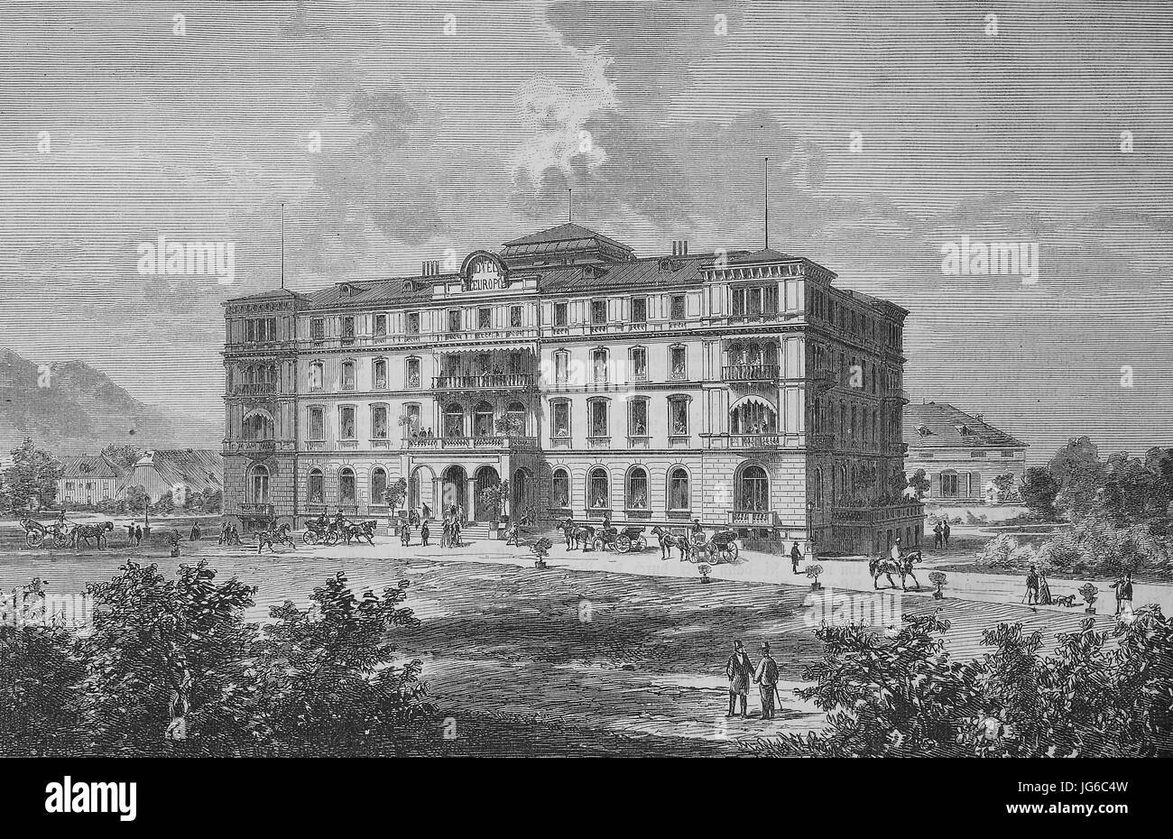 Digital improved:, building of the hotel Europa at Salzburg, Austria, illustration from the 19th century Stock Photo
