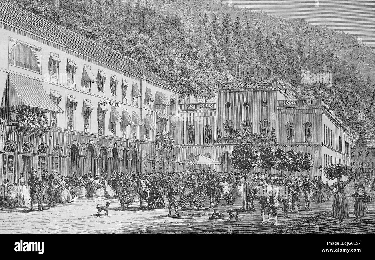Digital improved:, the spa of Wildbad with the bath house and the spa hotel, illustration from the 19th century Stock Photo